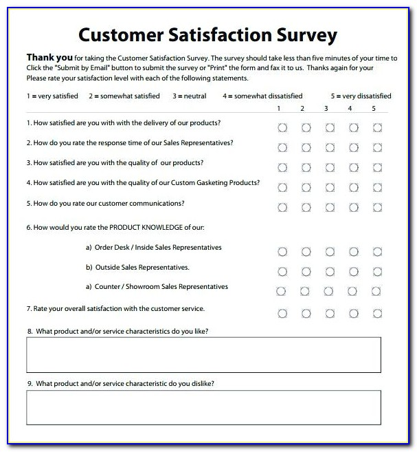 Customer Satisfaction Survey Template Free Online