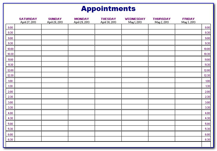 Daily Appointment Book 2019 Printable