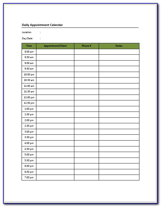 Daily Appointment Sheet Template