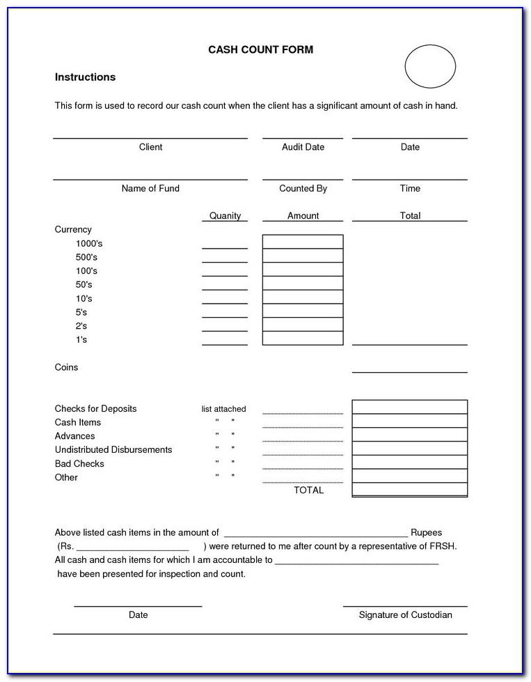 Daily Cash Drawer Balance Sheet Template