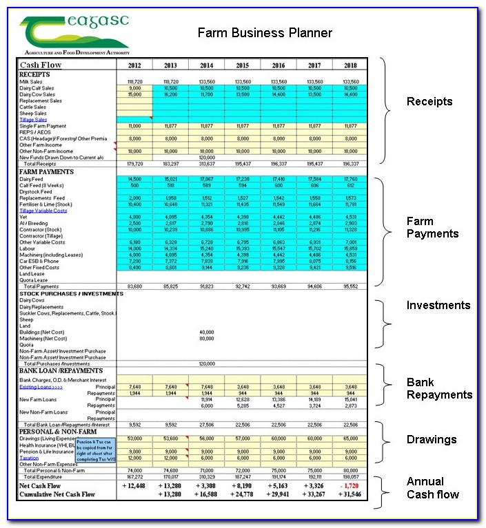 Developing A Financial Plan Teagasc Agriculture And Food Dairy Farm Business Plan Template Dairy Farm Business Plan Template