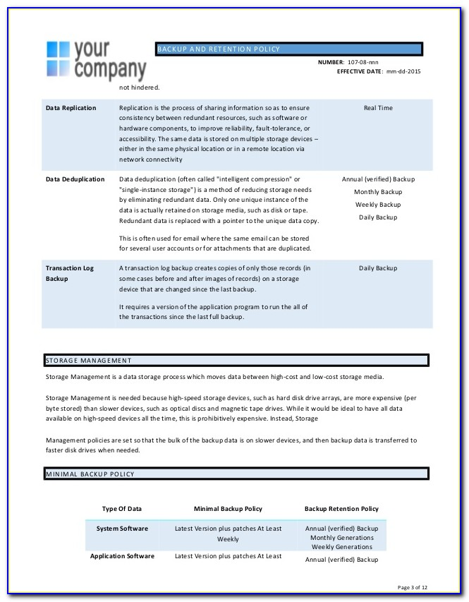 Data Backup And Recovery Policy Template