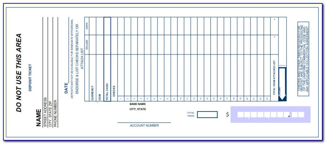 Deposit Slips Template Excel