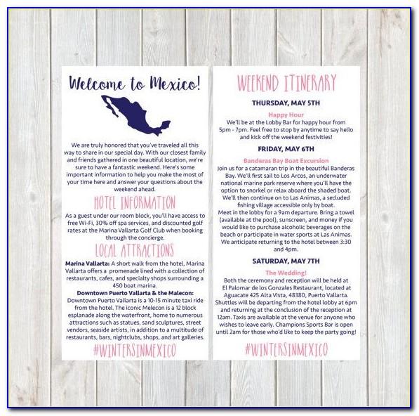 Destination Wedding Itinerary Examples