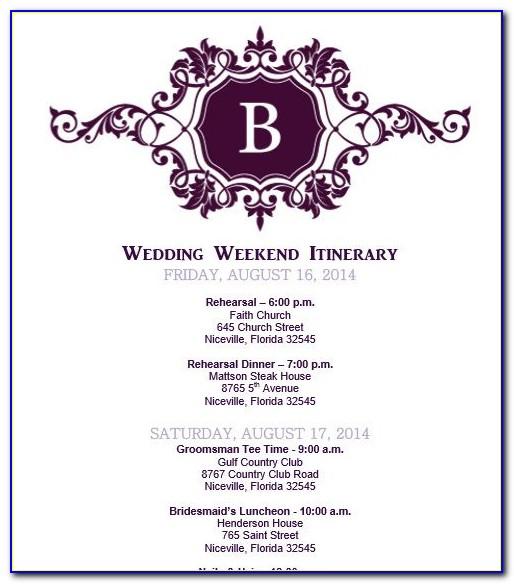 Destination Wedding Schedule Events Template