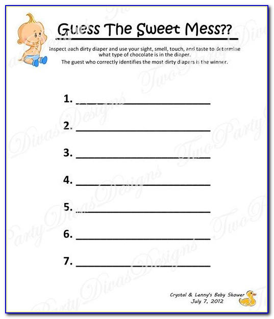 Dirty Diaper Game Template Free