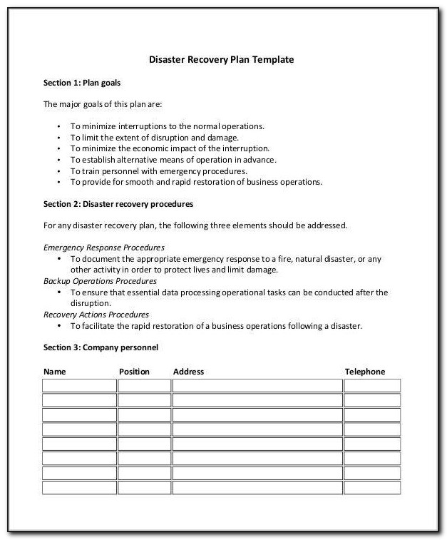 Disaster Recovery Plan For A Hospital
