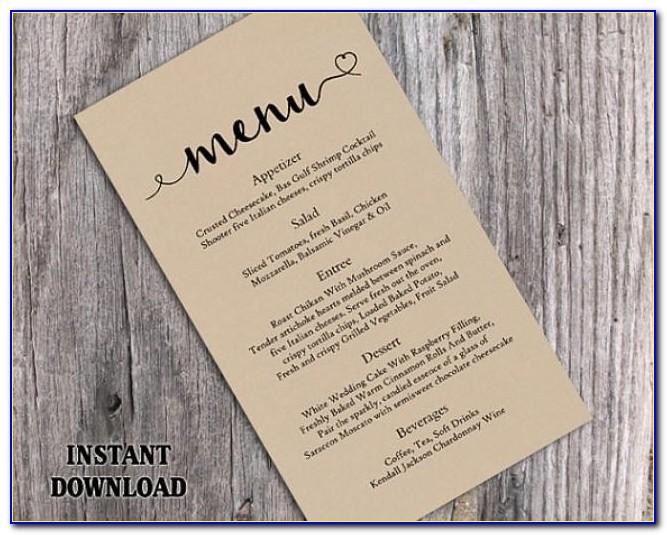 Diy Wedding Menu Cards Templates