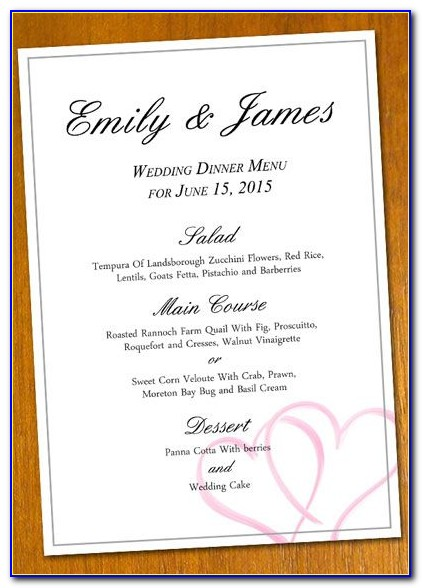 Diy Wedding Reception Menu Template