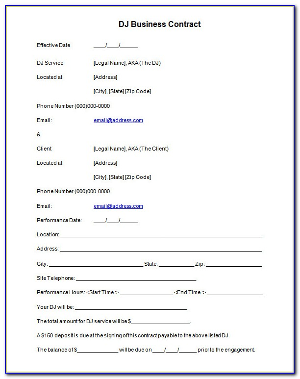 Dj Contract Template Free Download