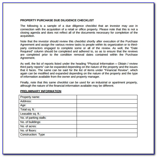 Due Diligence Checklist Template Free