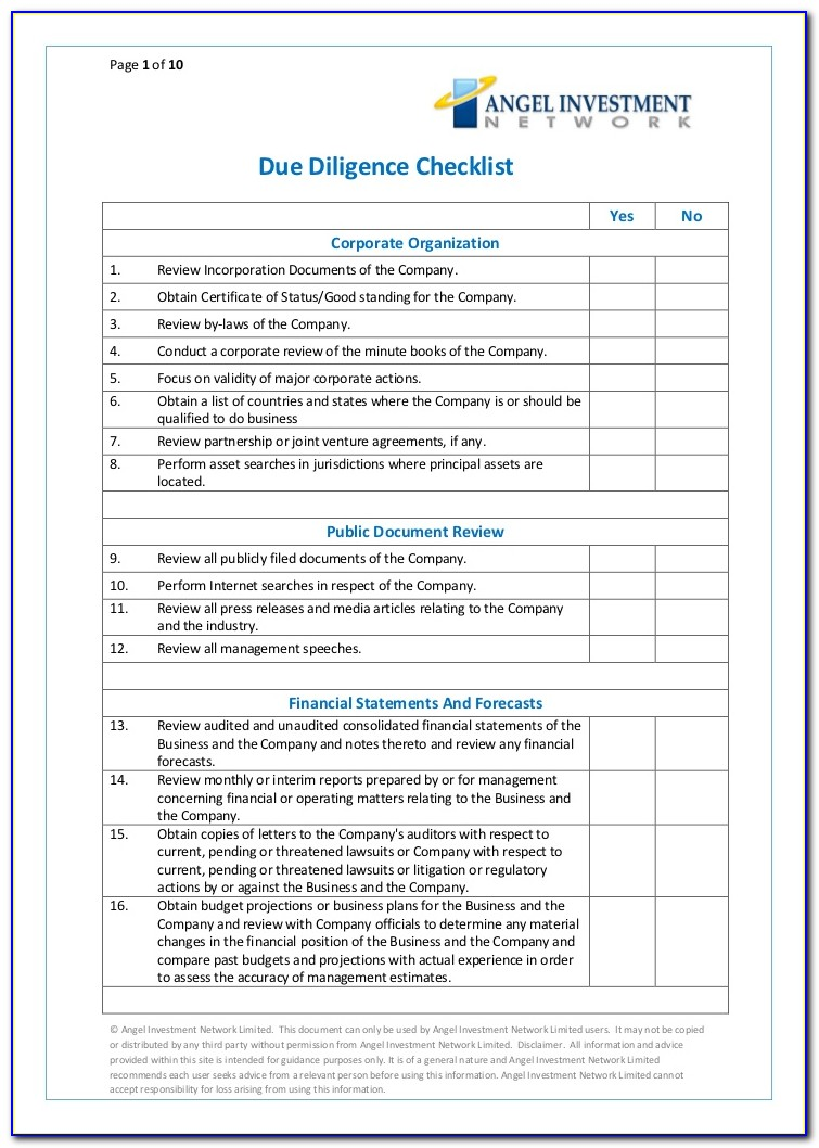 Due Diligence Checklist Template Word