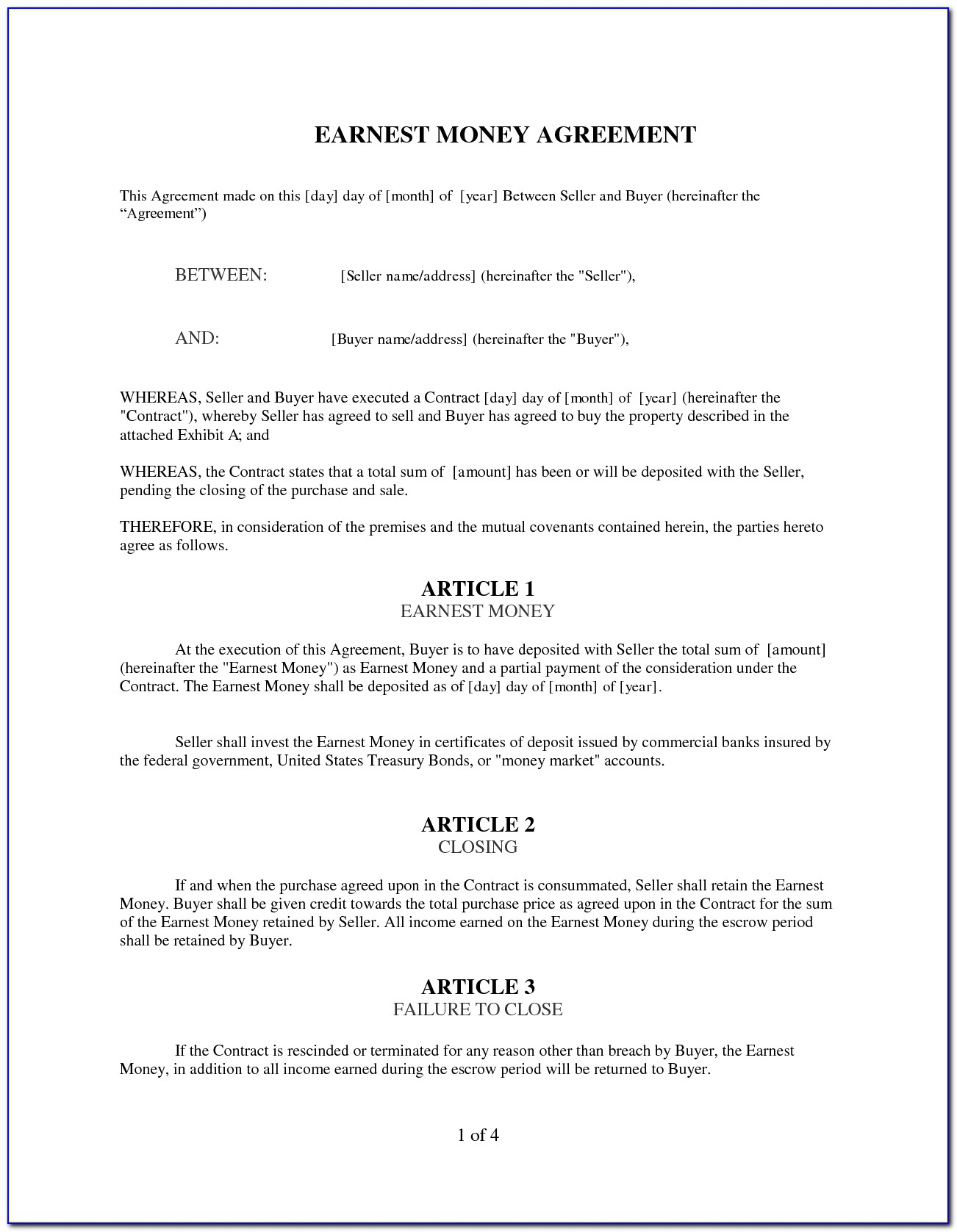 Earnest Money Contract Form Free