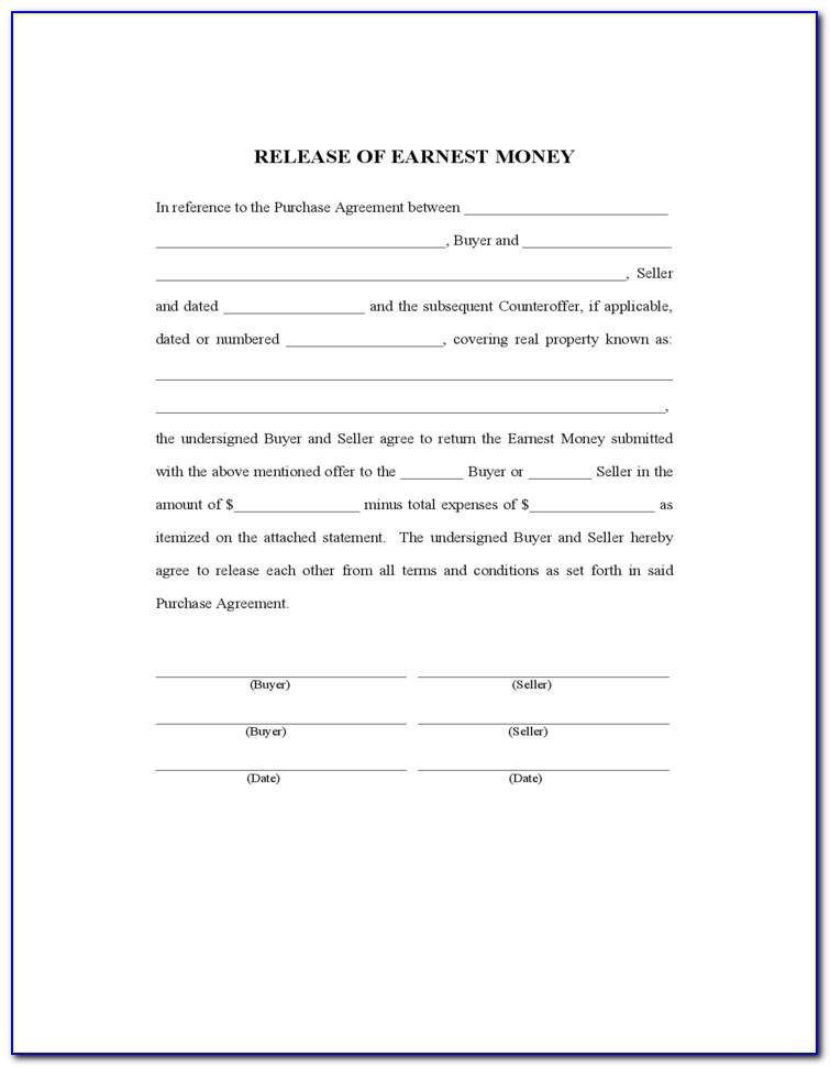 Earnest Money Contract Template Texas