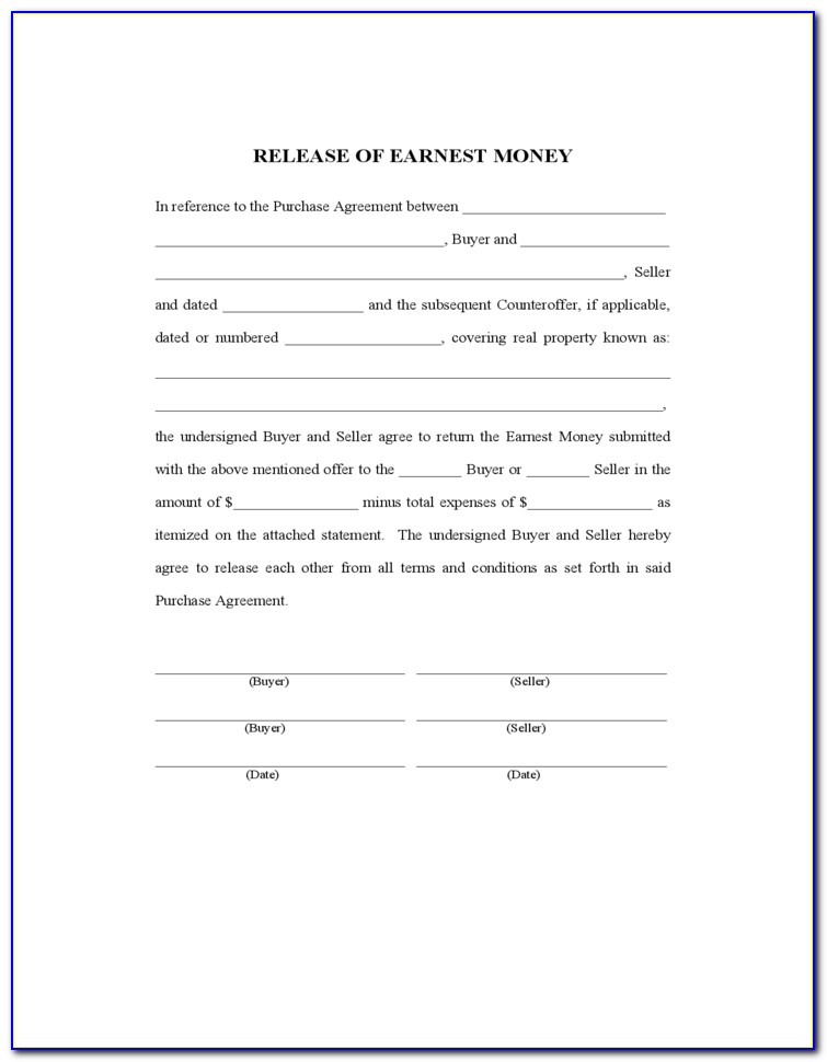 Earnest Money Contract Template