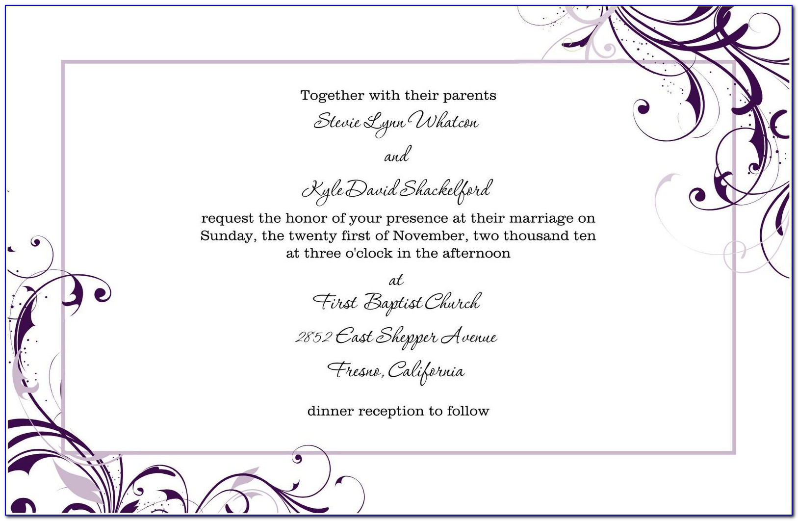 Editable Wedding Reception Invitation Templates Free Download