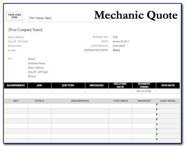 Electrical Contractor Quote Template