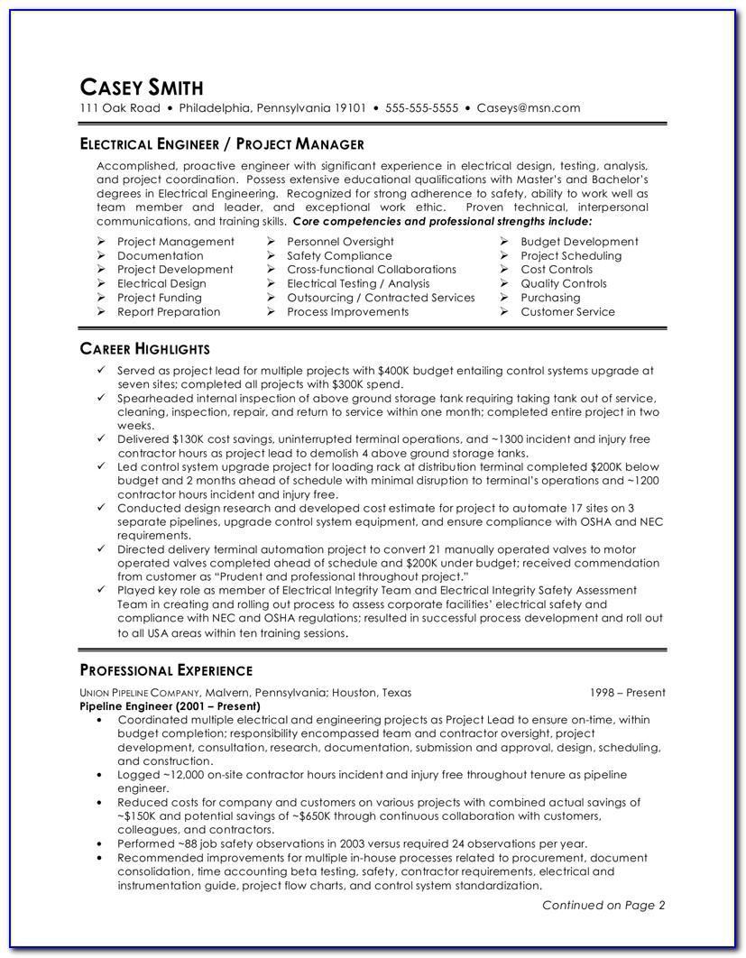 Electrical Engineering Resume Template Word