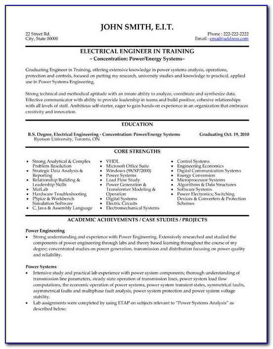 Electrical Engineering Resume Template