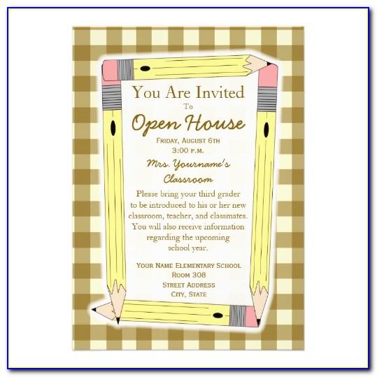 Elementary School Open House Invitation Template