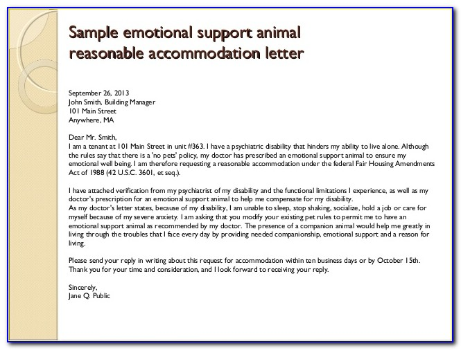Emotional Support Animal Letter For Flying Template