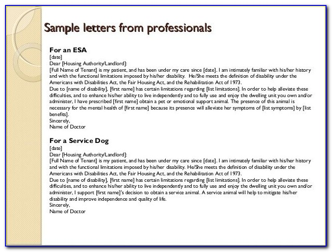 Emotional Support Dog Letter Example