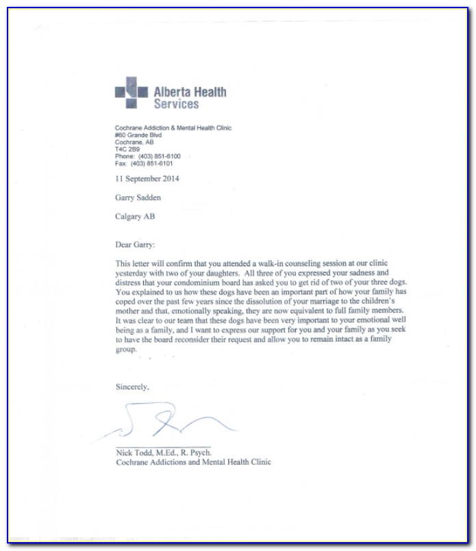 Emotional Support Service Dog Letter Template
