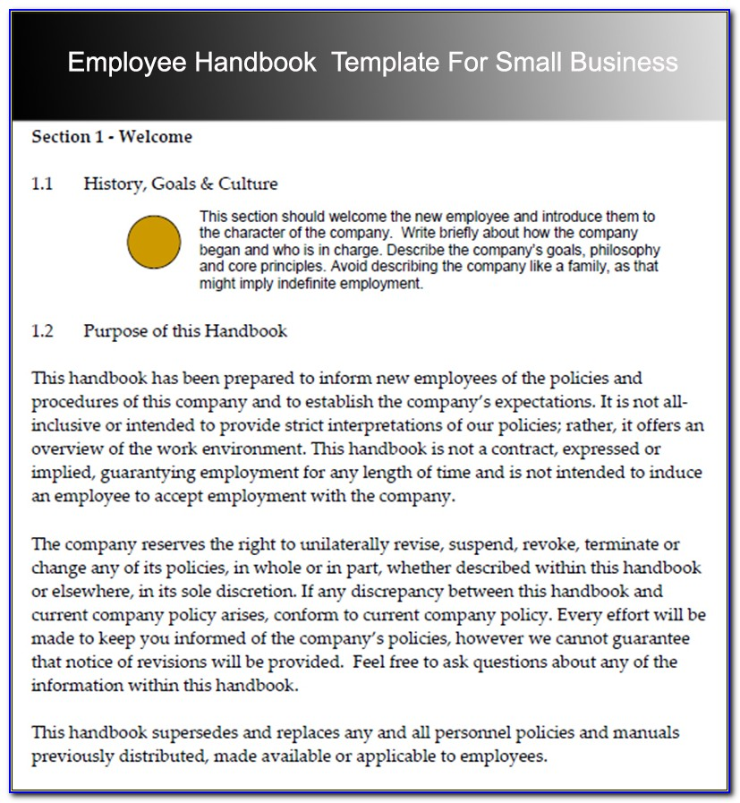 Employee Handbook Sample For Small Business