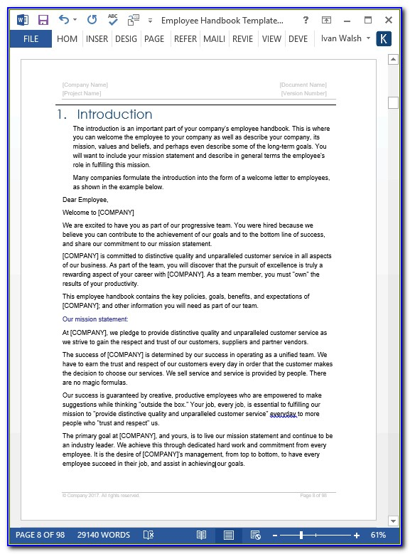 Employee Handbook Templates For Small Business