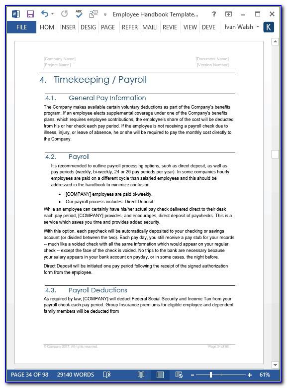 Employee Handbook Templates Word
