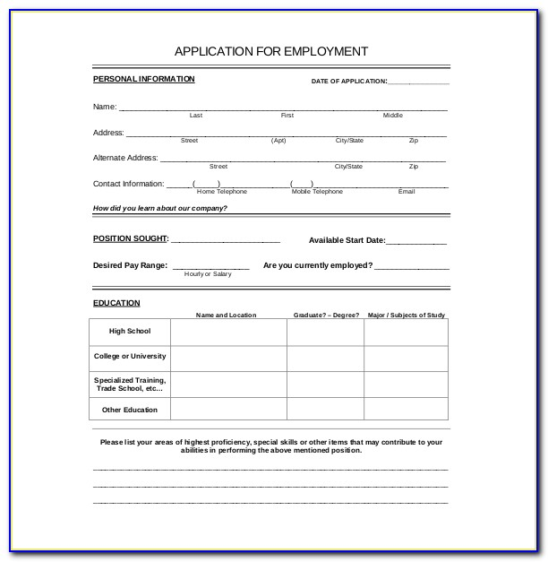 Employee Information Form Template Free Download
