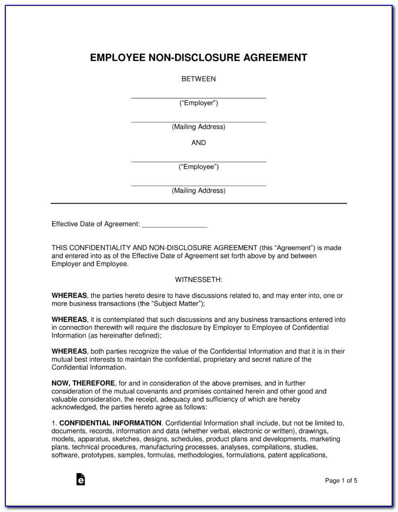 Employee Non Disclosure Agreement Sample