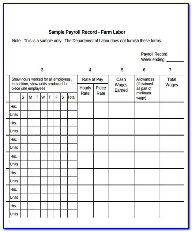 Employee Payroll Register Template