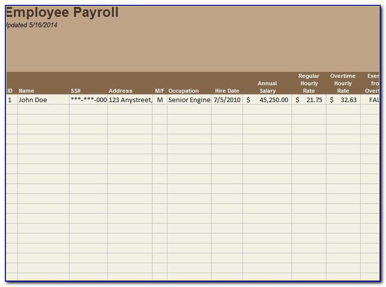 Employee Payroll Statement Template