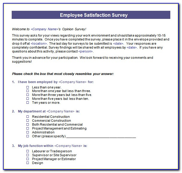 Employee Satisfaction Survey Template Word