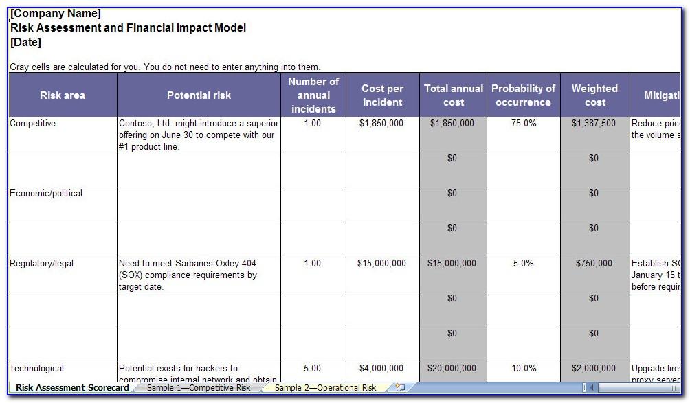 Enterprise Risk Assessment Examples