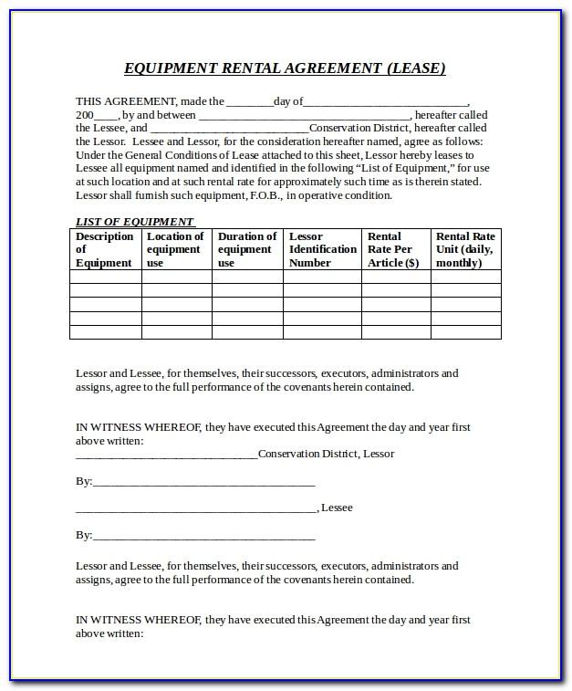 Equipment Rental Agreement Template Pdf