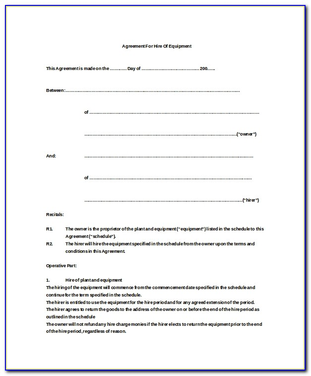 Equipment Rental Agreement Template Word Doc