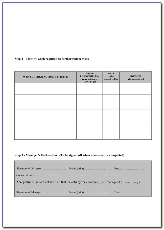Event Risk Assessment Template Word
