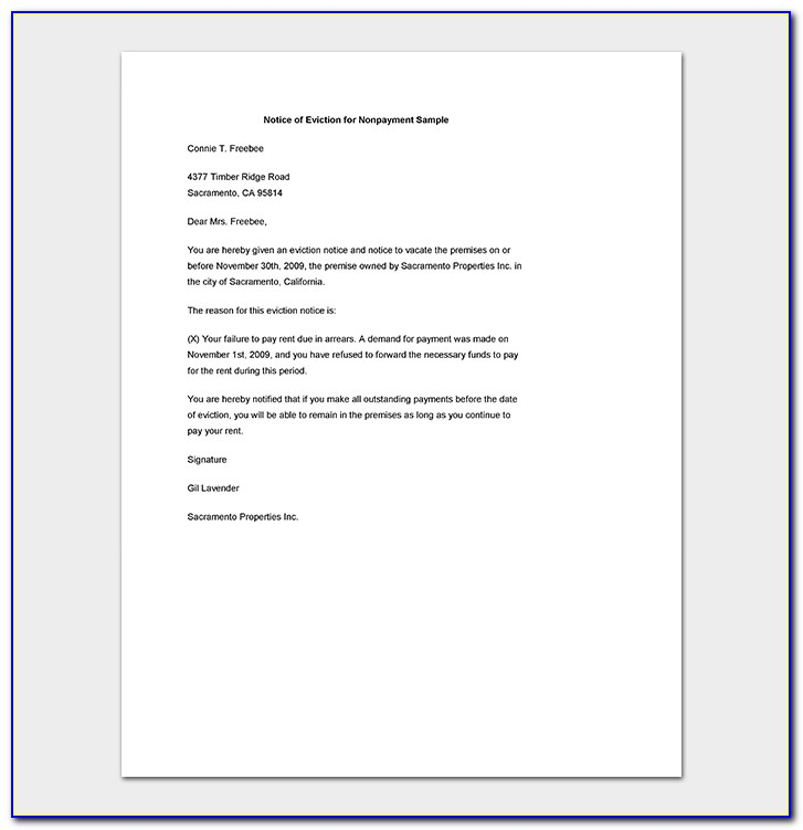 Eviction Letter Template Nz