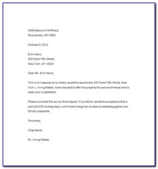 Eviction Letter Template Word