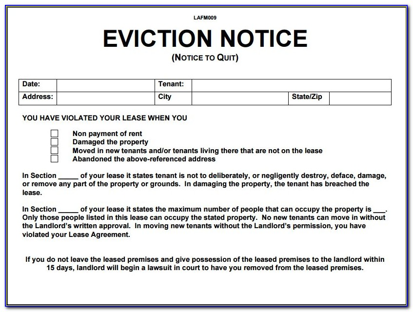 Example Of An Eviction Notice Letter