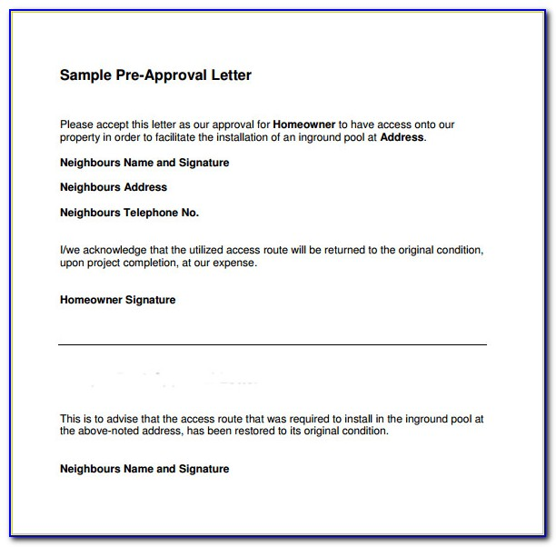 Example Of Mortgage Pre Approval Letter