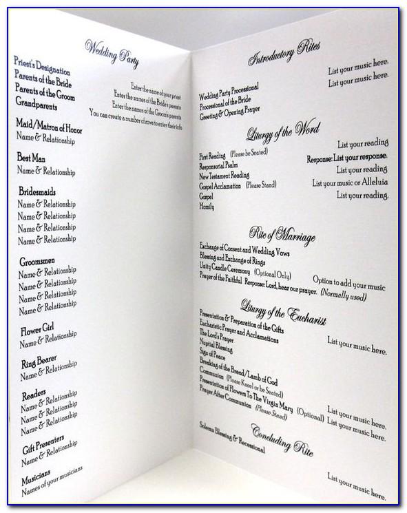 Example Of Wedding Program Layout