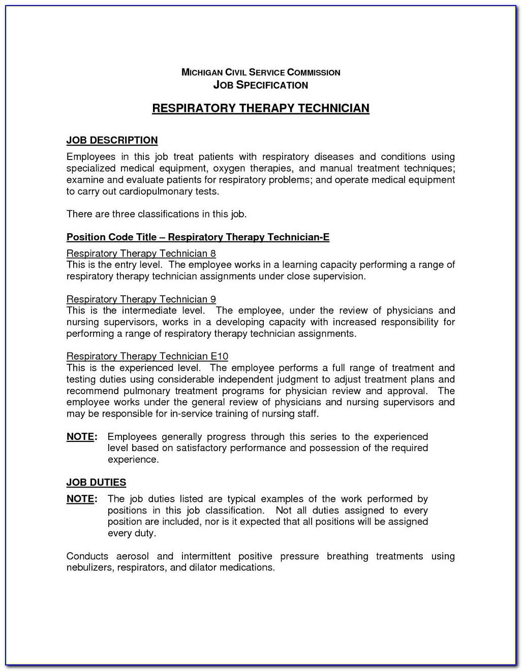 Example Respiratory Therapist Resume