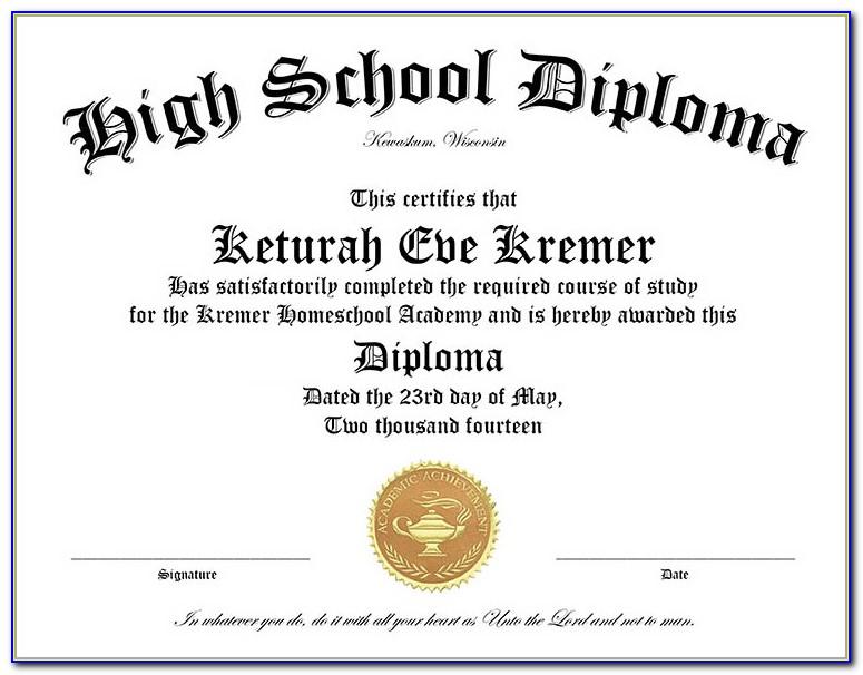 Fake High School Diploma Template Free