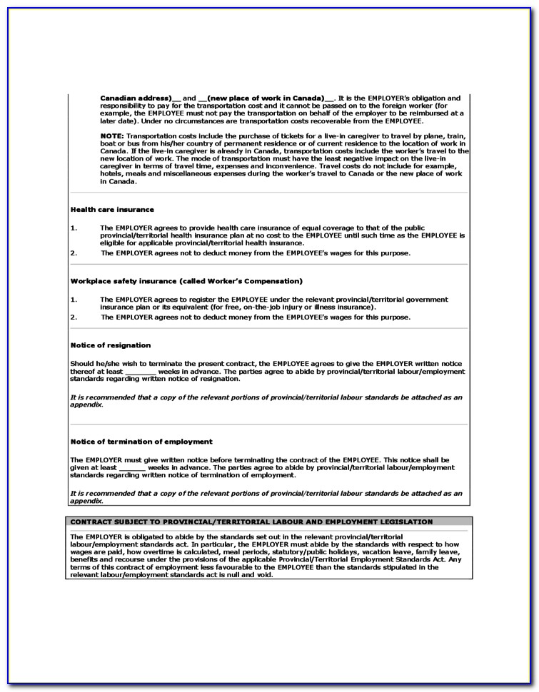 Family Caregiver Agreement Example