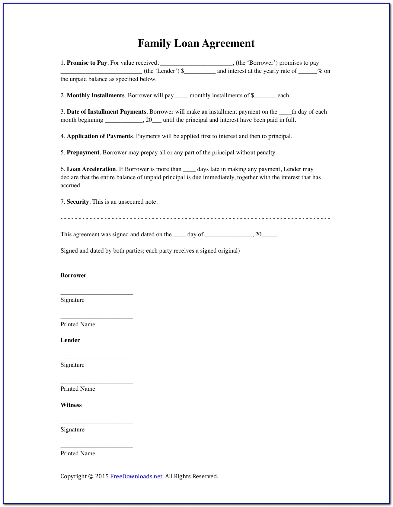 Family Loan Agreement Template Free Download