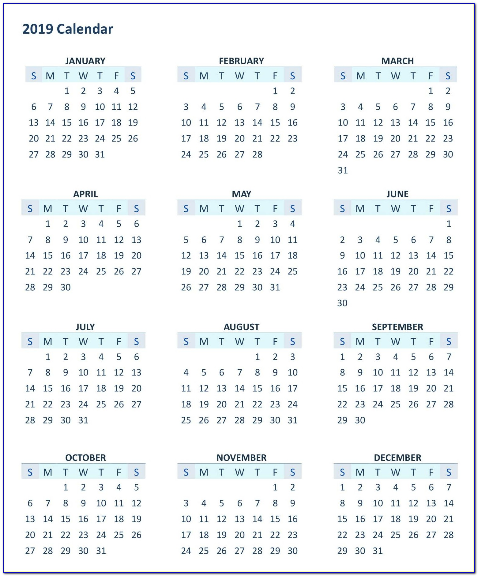 12 Month Calendar 2019 Template