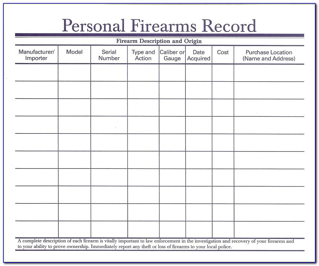 Firearms Record Book Template